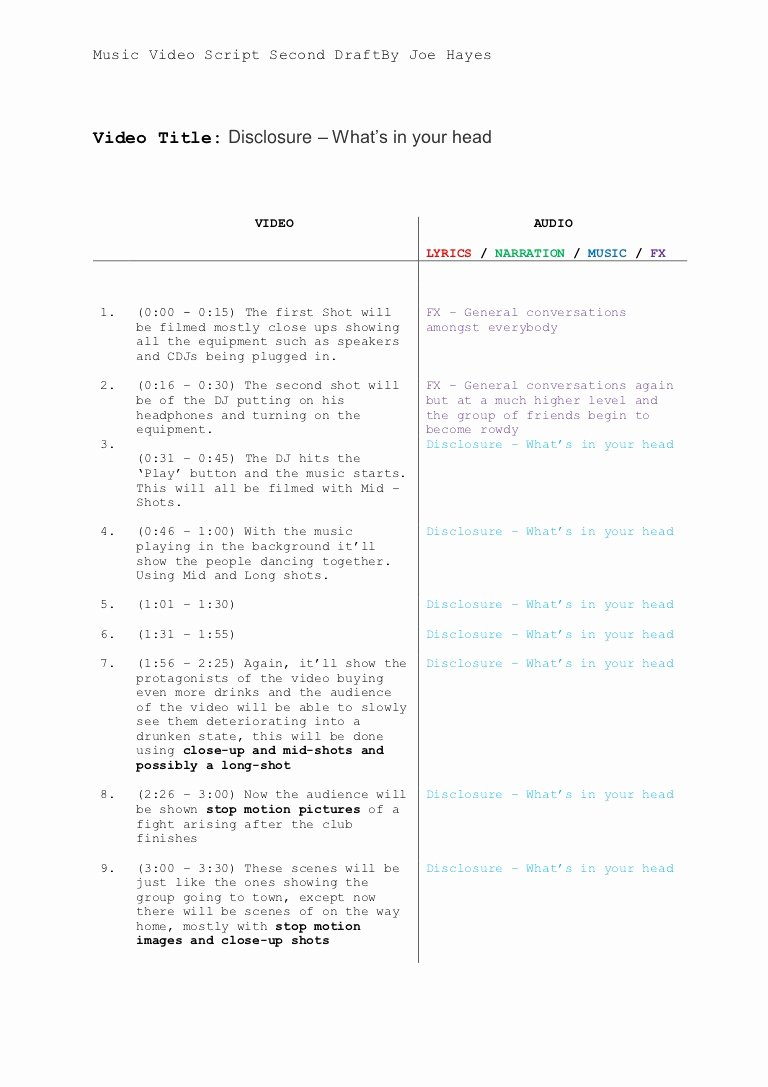 Music Video Script Template 1