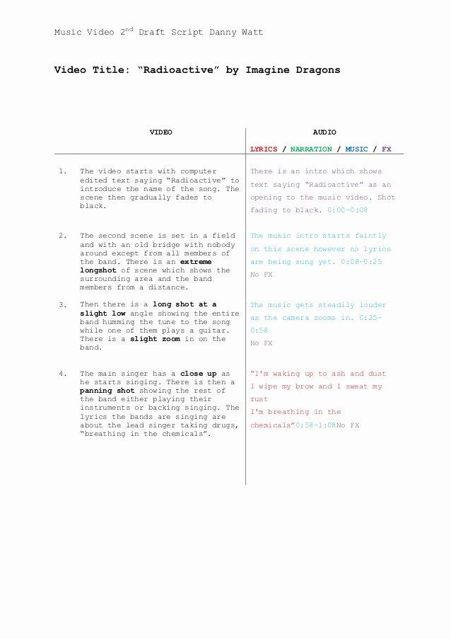 Music Video Script Template 1