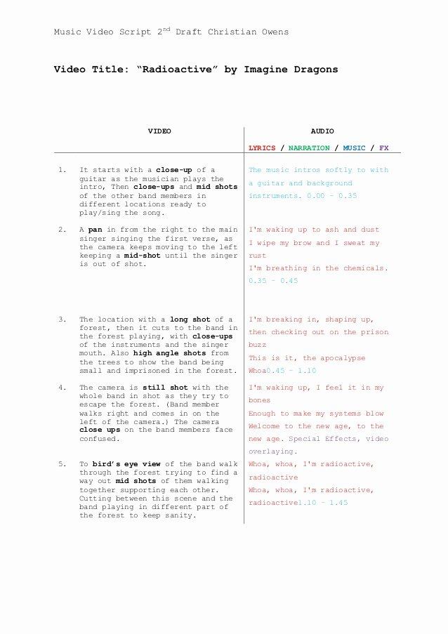 Music Video Script Template First Draft Christian Owens