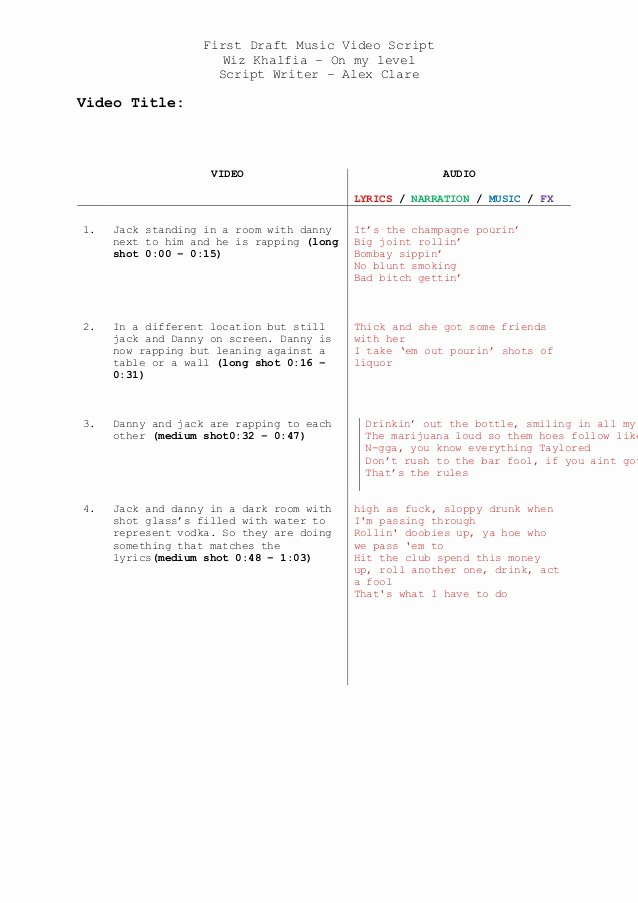 Music Video Script Template First Draft