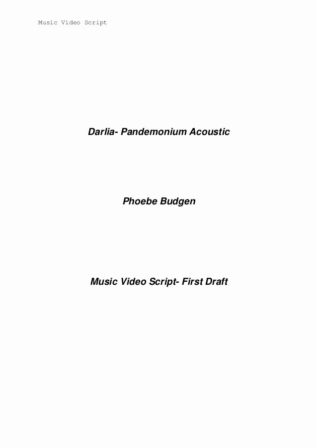 Music Video Script Template Update Nov 2013