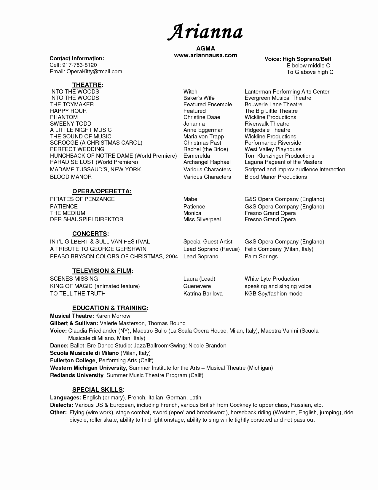 Musical theatre Resume Resume Ideas