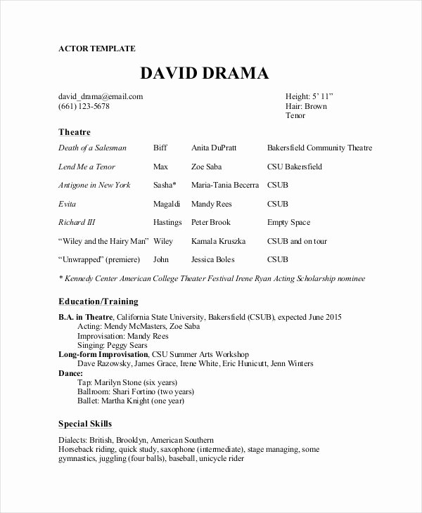 Musical theatre Resume Template Best Resume Collection