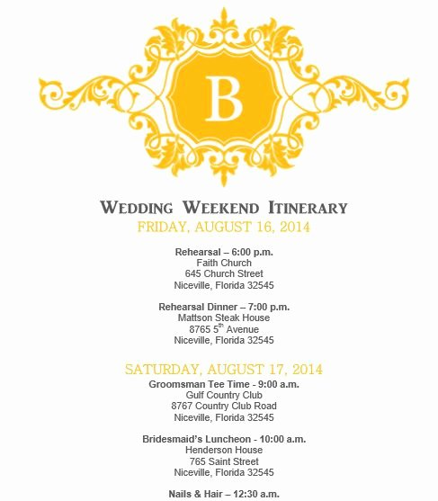 Mustard Yellow Wedding Itinerary Template Download