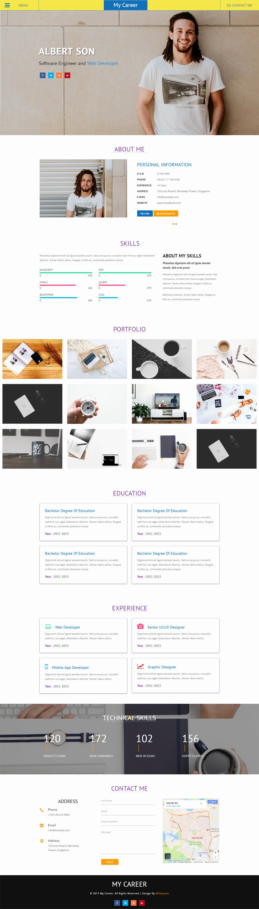 My Career A Personal Website Flat Bootstrap Responsive Web