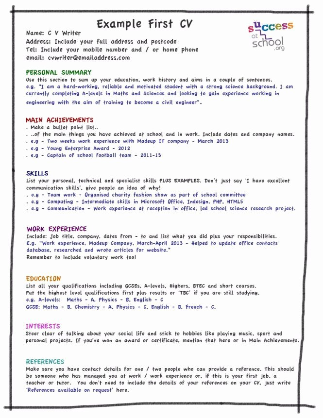My First Cv Template Kids Stuff Pinterest