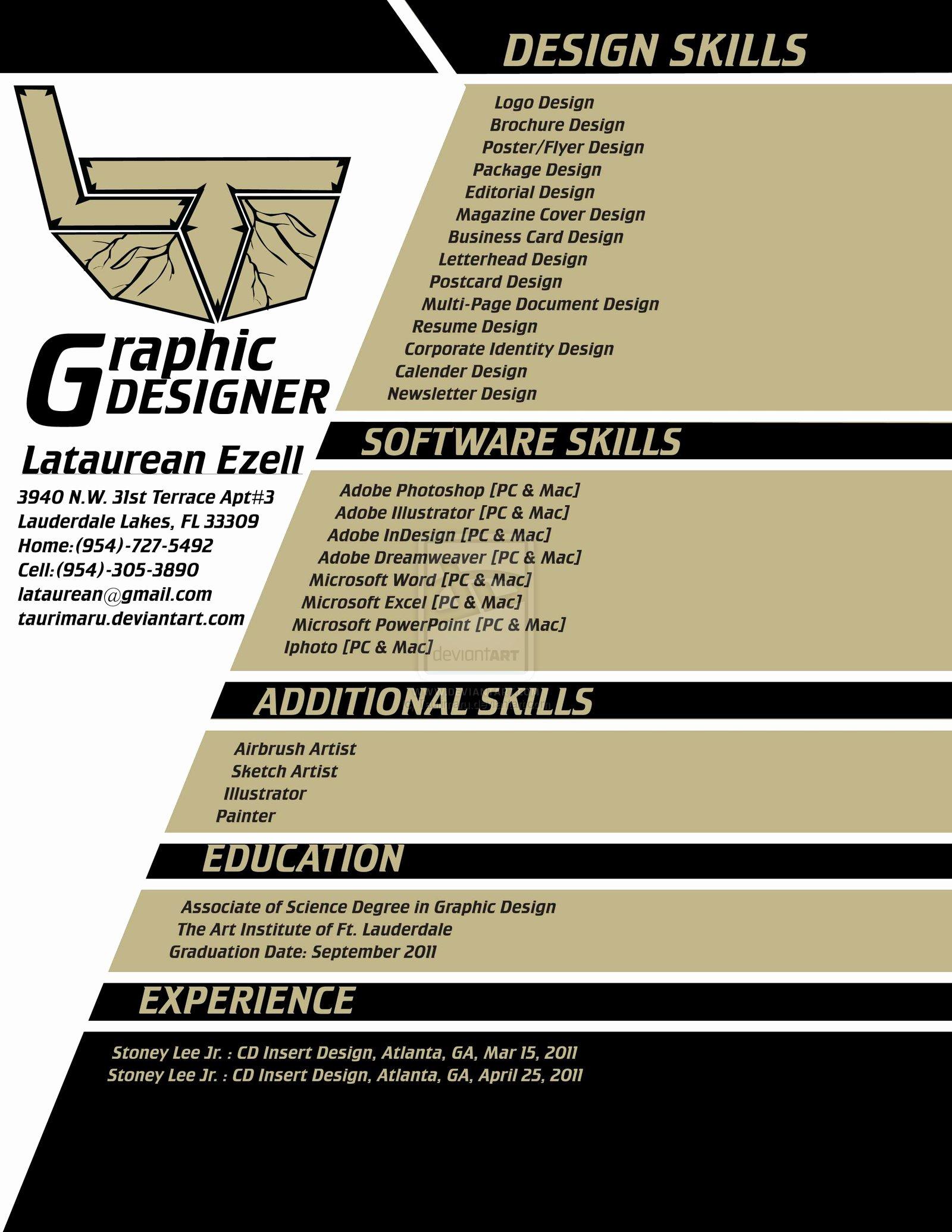 My Graphic Design Resume by Taurimaru On Deviantart