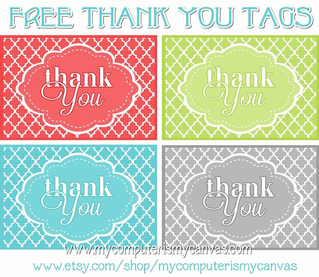 My Puter is My Canvas Freebie Printable Thank You Tags