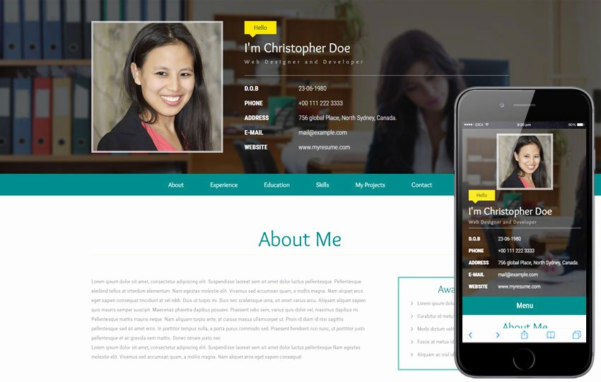 My Resume A Personal Category Flat Bootstrap Responsive