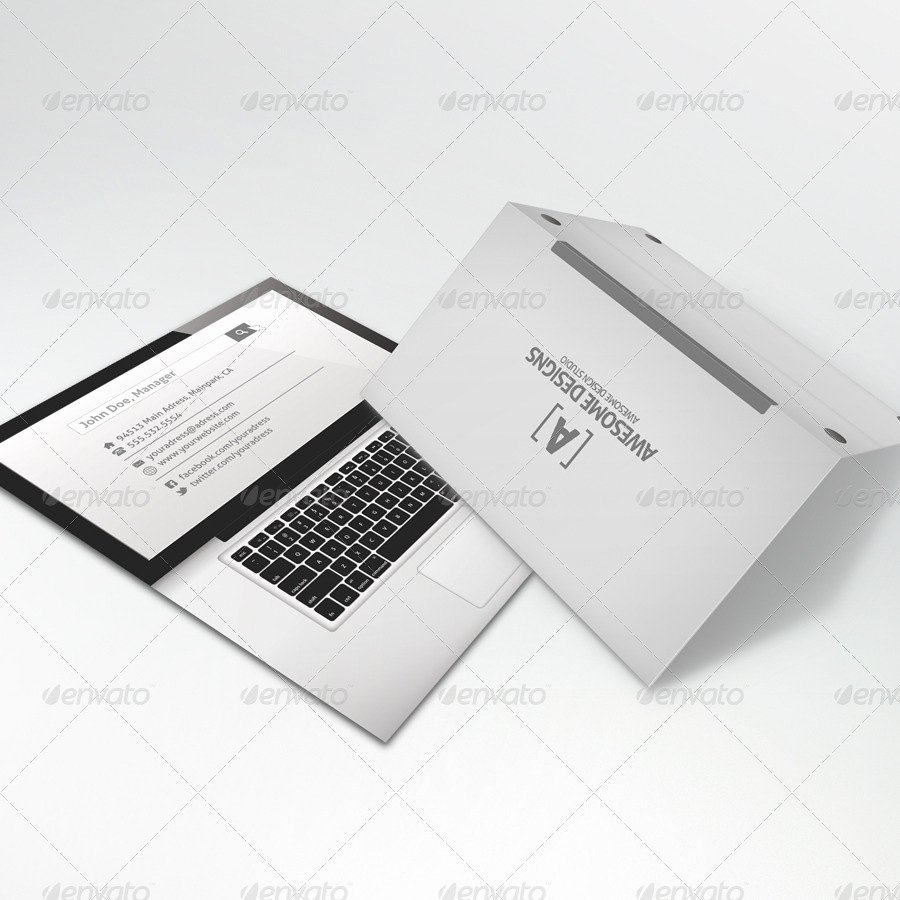 Mybook Pro Folded Business Card Template by Zeppelin
