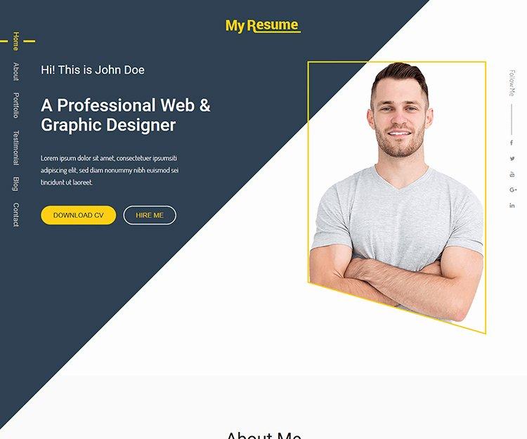myresume bootstrap personal portfolio template