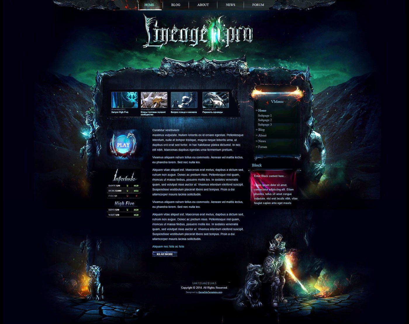 Mystic Game Website Template