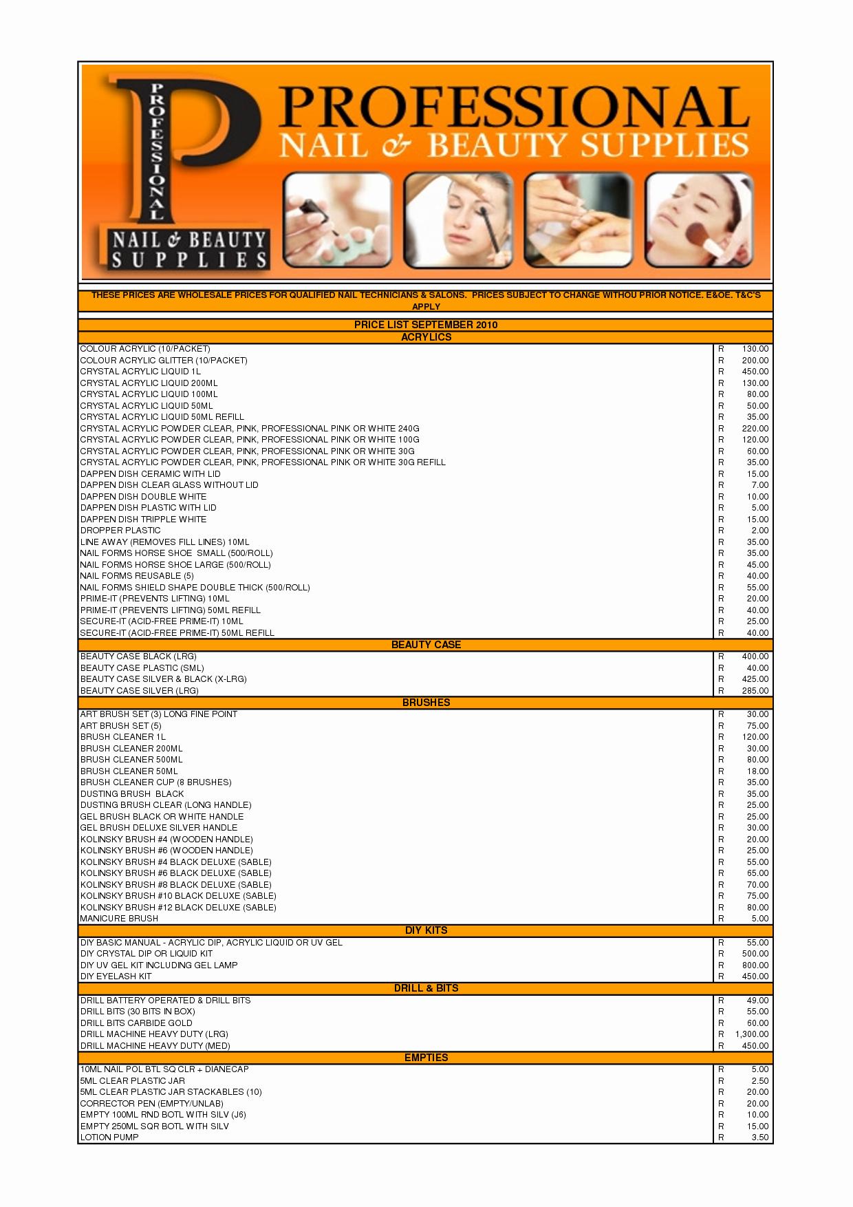 Nail Salon Supply Checklist Nail Ftempo