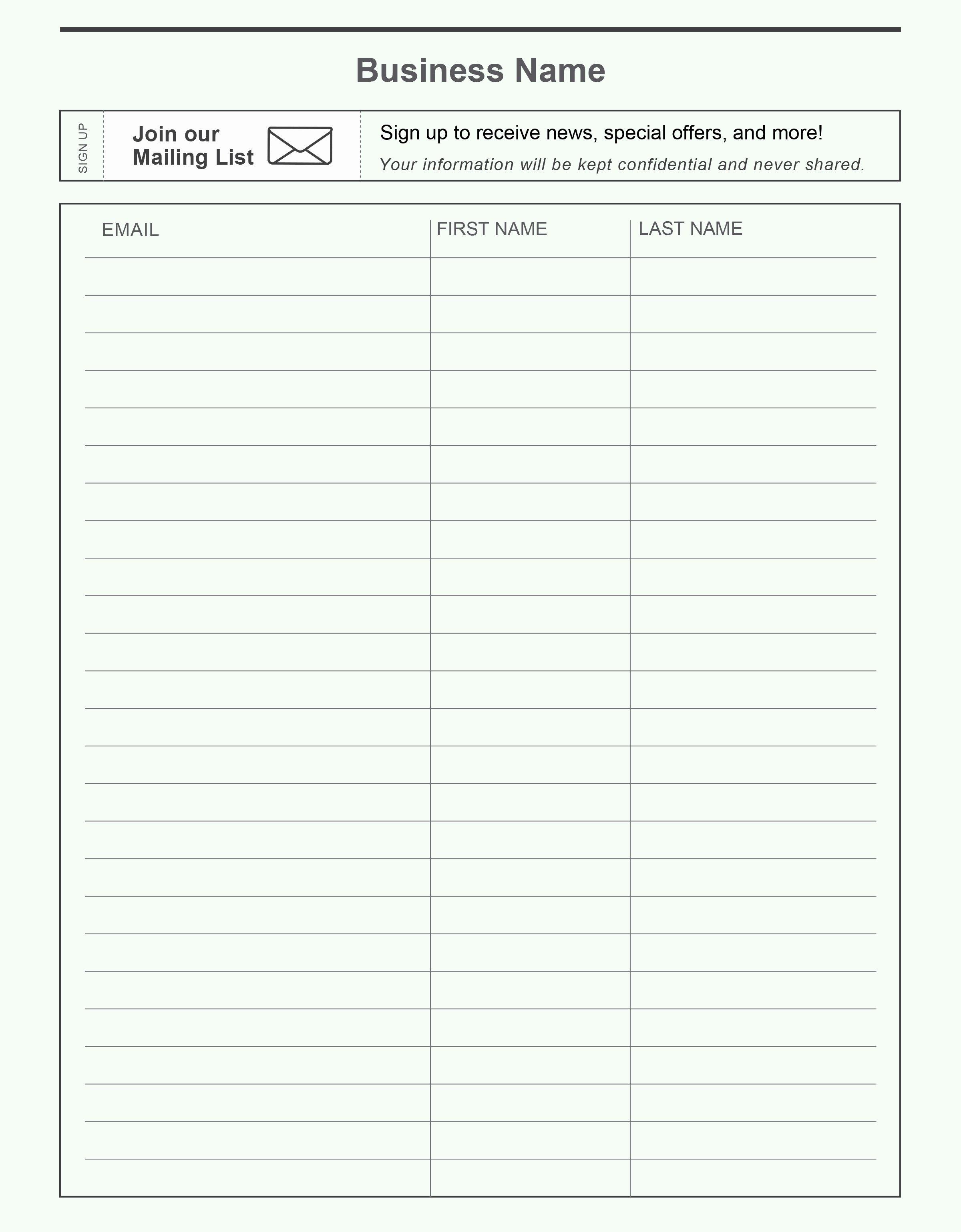 Name and Email Sign Up Sheet Portablegasgrillweber
