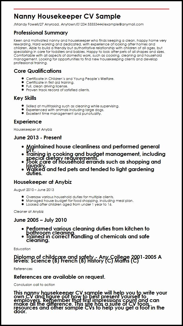 Nanny Housekeeper Cv Sample
