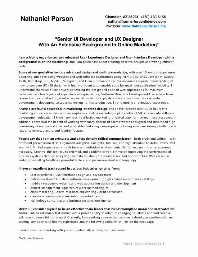 Nathaniel Parson Ux Ui Designer Developer 2016 Resume