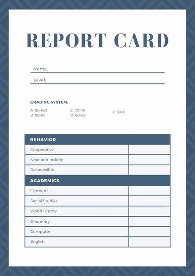 Navy Blue Geometric Homeschool Report Card Templates by