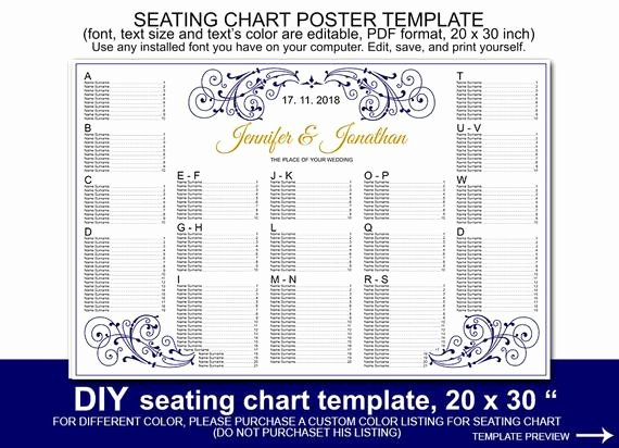 Navy Blue Scroll Wedding Seating Chart Poster Template