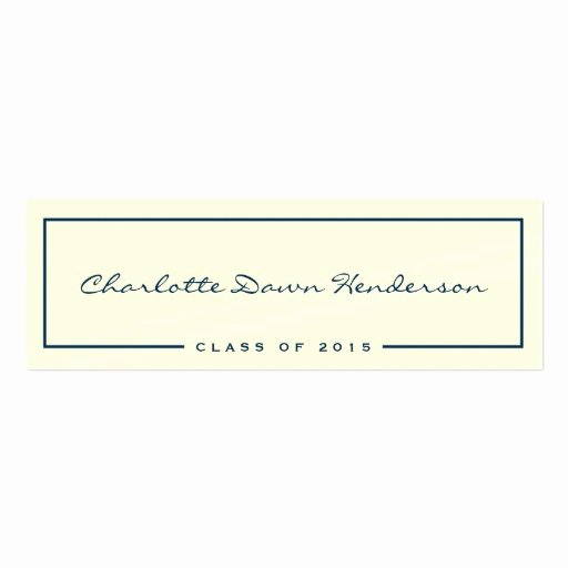 Navy Border Ecru Graduation Announcement Name Card