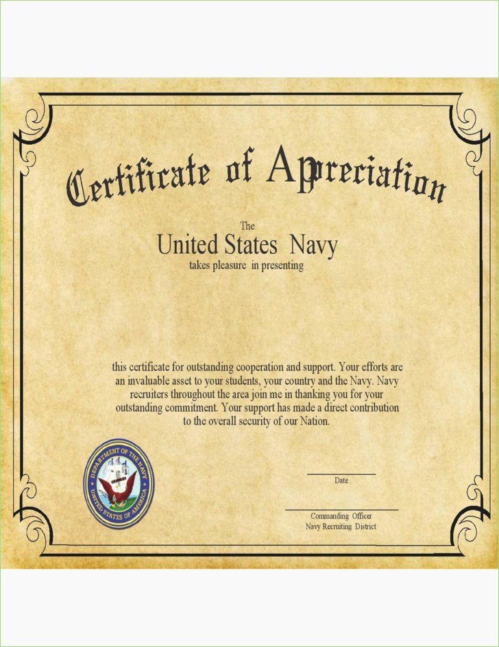Navy Letter Appreciation format – thepizzashop