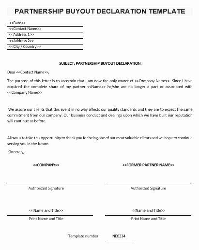 Ne0234 Partnership Buyout Declaration Template – English