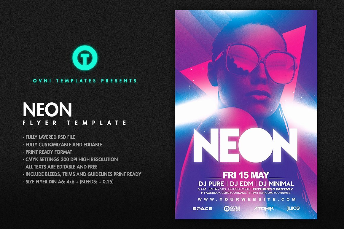 Neon Flyer Template Flyer Templates Creative Market