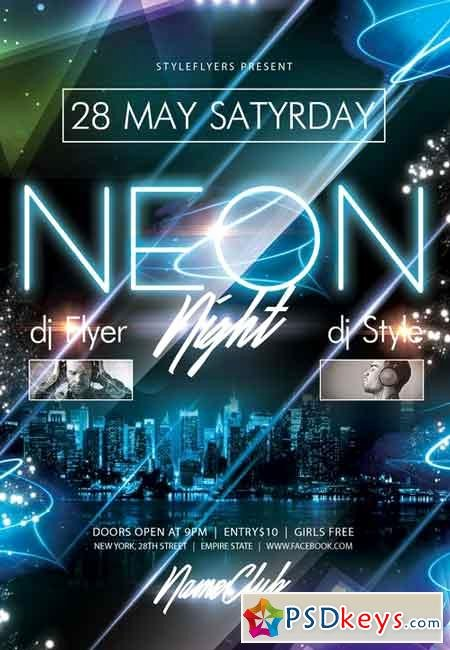 Neon Party Psd Flyer Template Cover Free