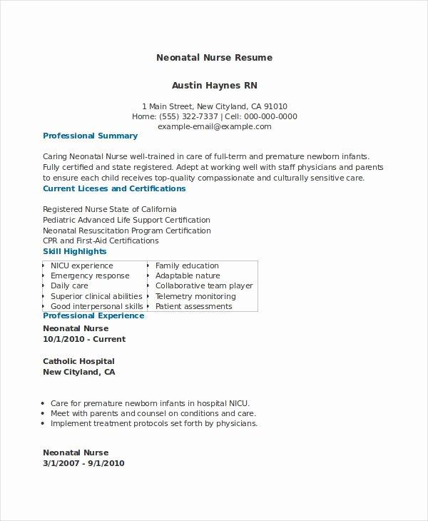 Neonatal Nurse Resume Nicu Nurse Resume Berathen