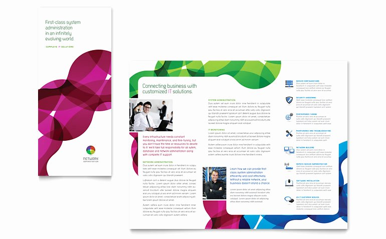 Network Administration Tri Fold Brochure Template Word