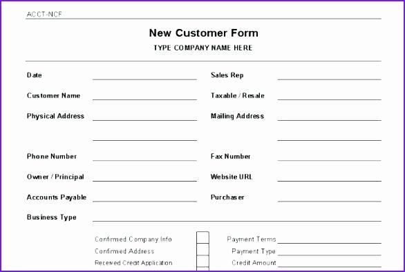 New Account Application form Template Customer Setup