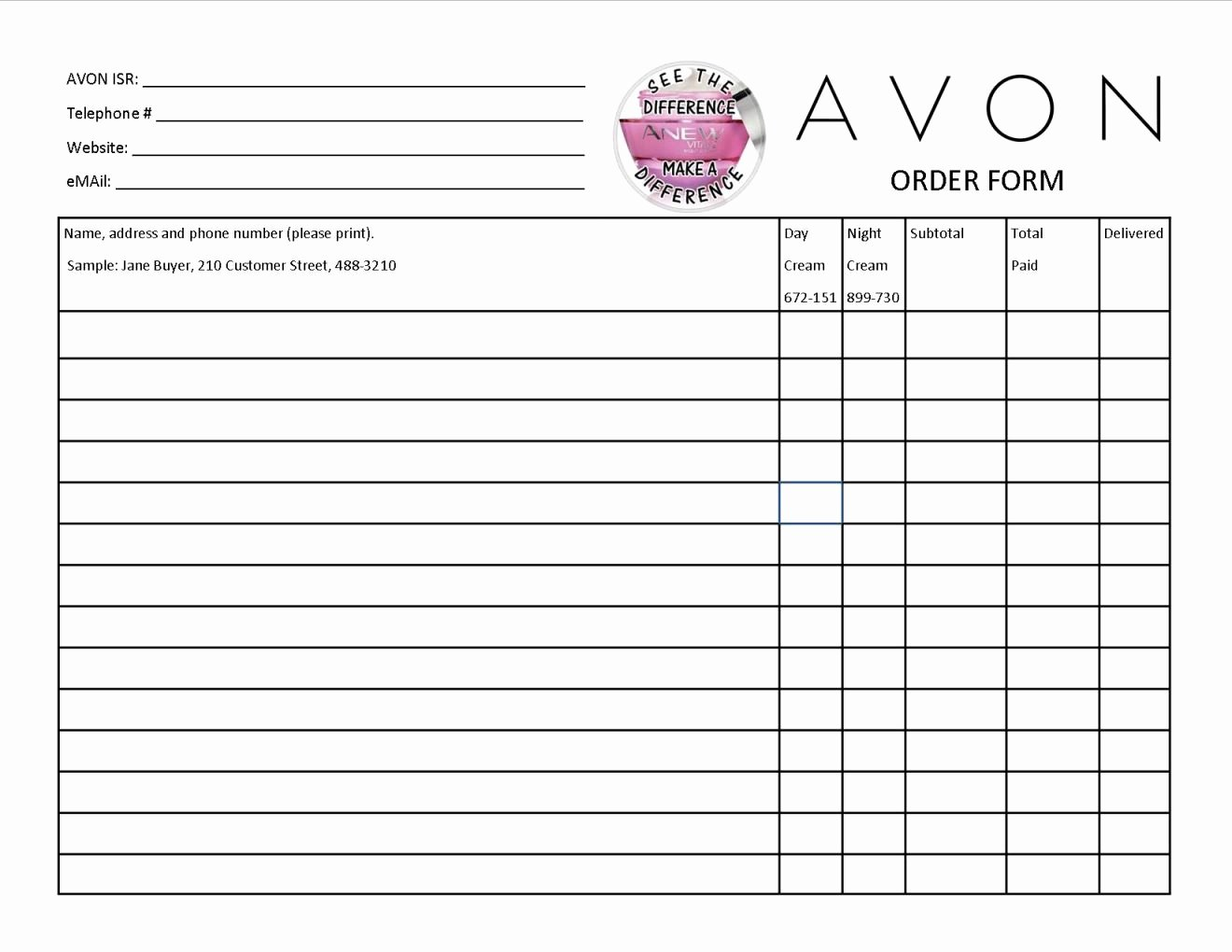 New Avon order form Template Nh04 – Documentaries for Change
