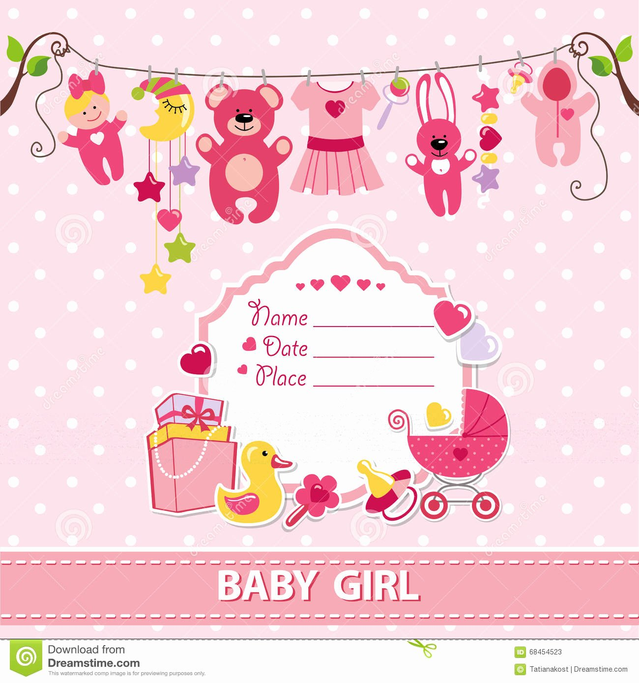 New Born Baby Girl Card Shower Invitation Template Stock