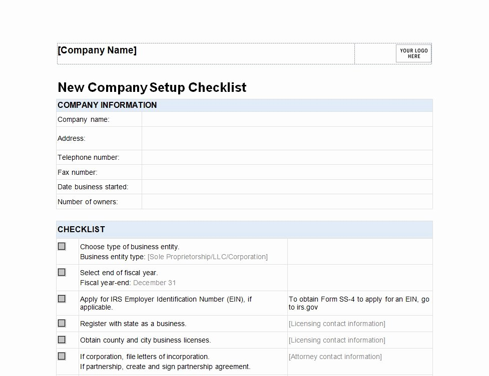New Business Checklist