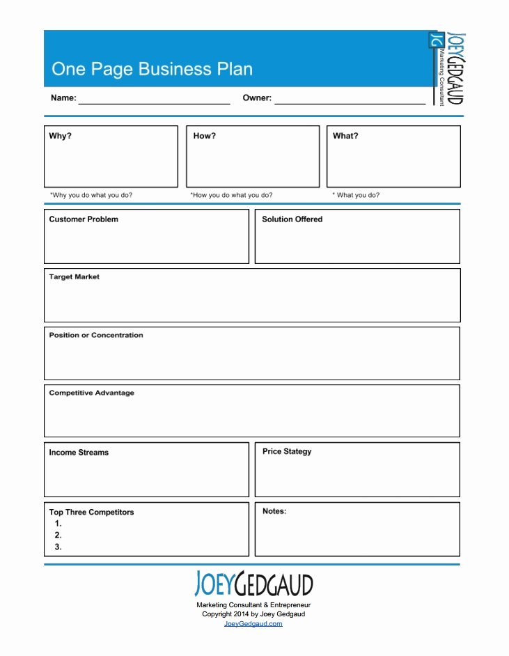 New Business Plan Template