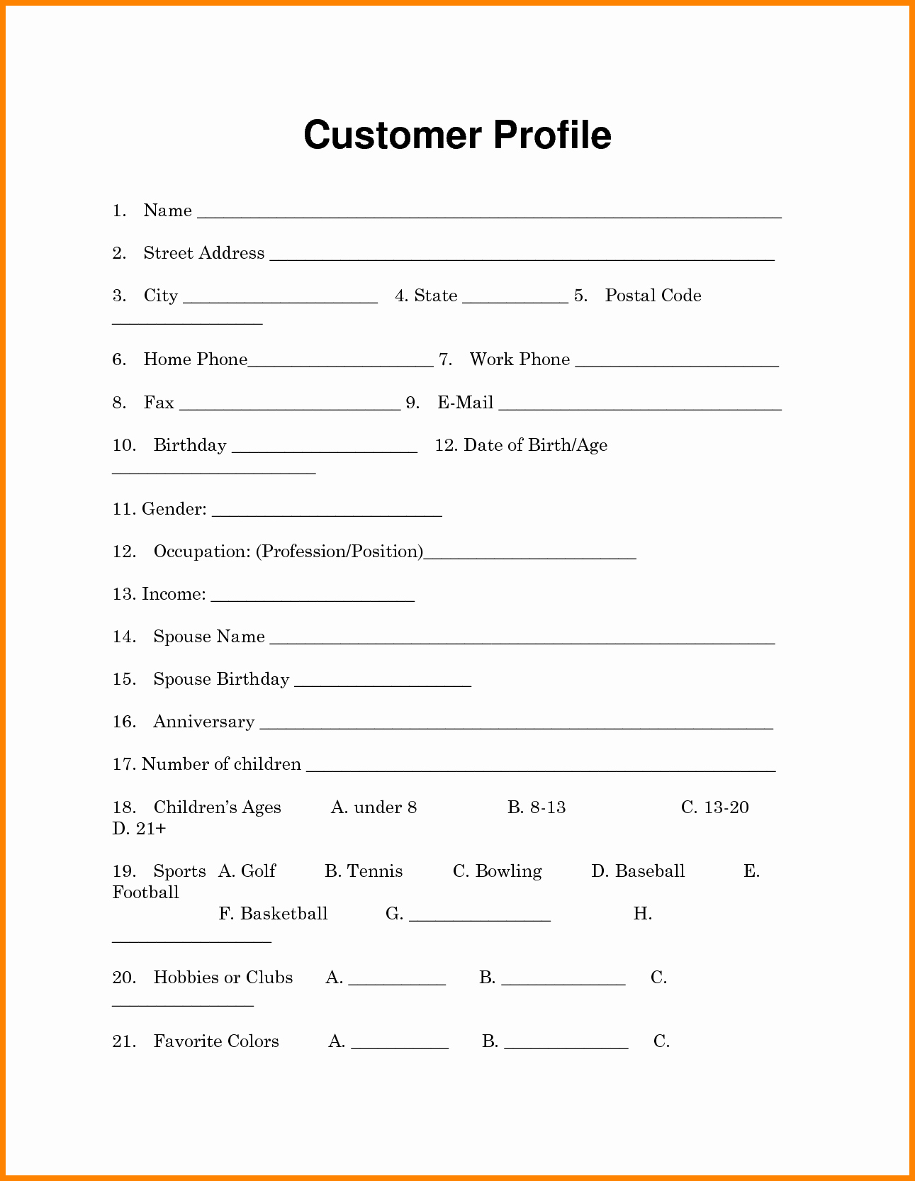 New Customer form Template Word Portablegasgrillweber