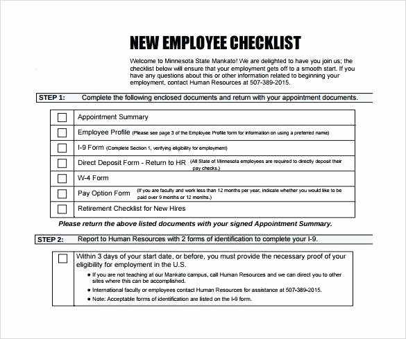 New Employee Boarding Checklist Template Beautiful