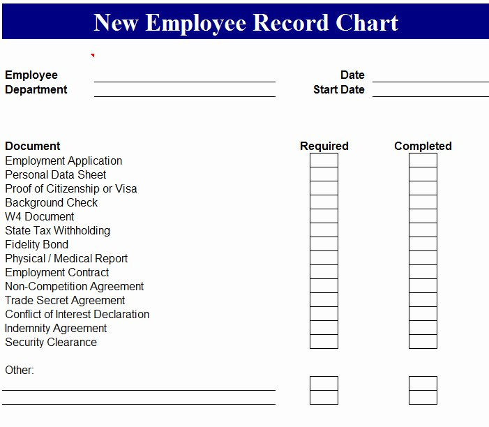 New Employee Chart