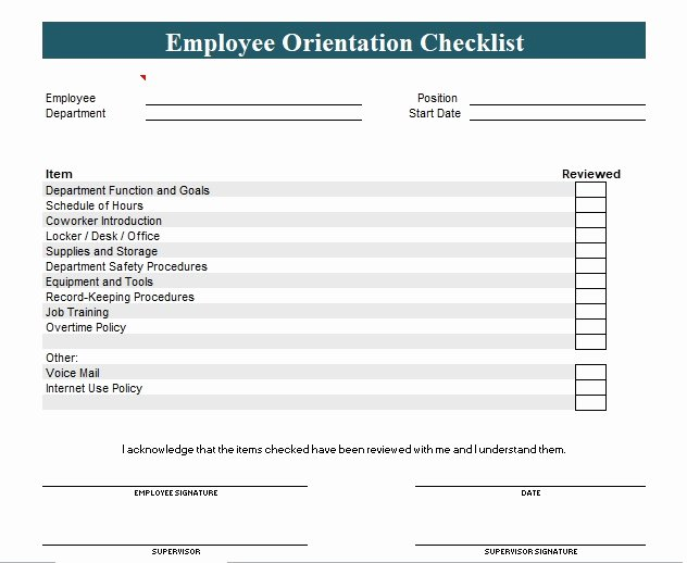 New Employee orientation Checklist Template Excel and Word