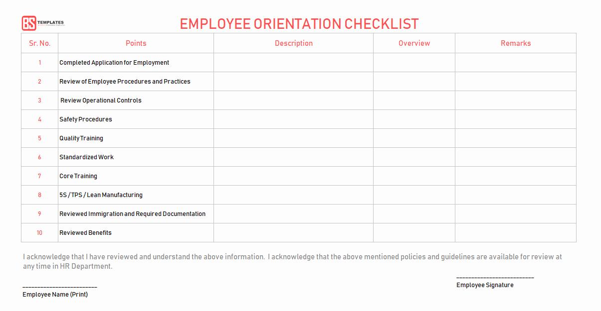 New Employee orientation Checklist – Word Excel