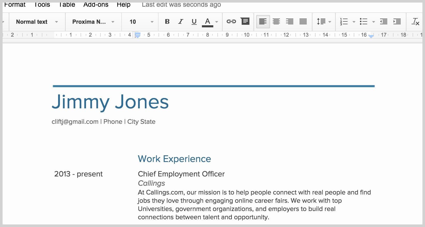 New Google Docs Resume Template Resume Ideas