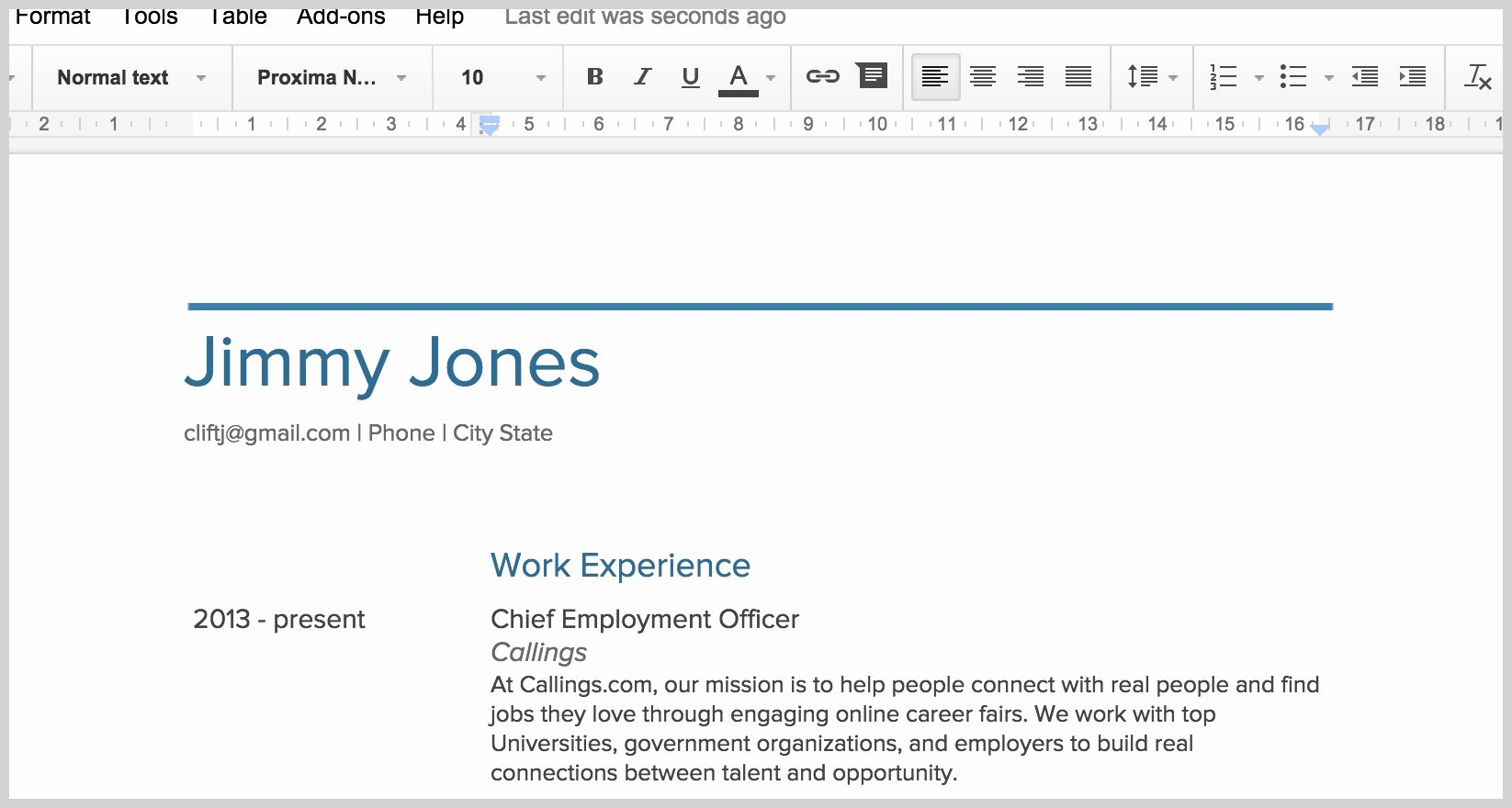 New Google Docs Resume Template Resume Ideas