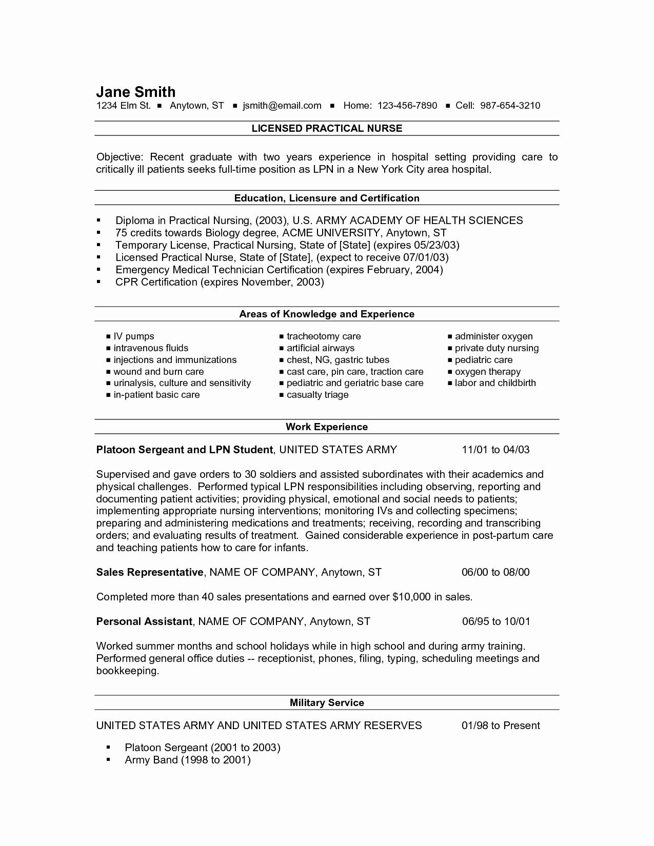 New Grad Lpn Resume Resume Ideas