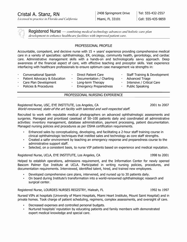 New Grad Nurse Resume F Resume