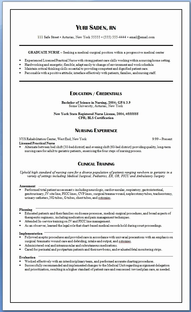 New Grad Rn Resume Template Best Resume Collection