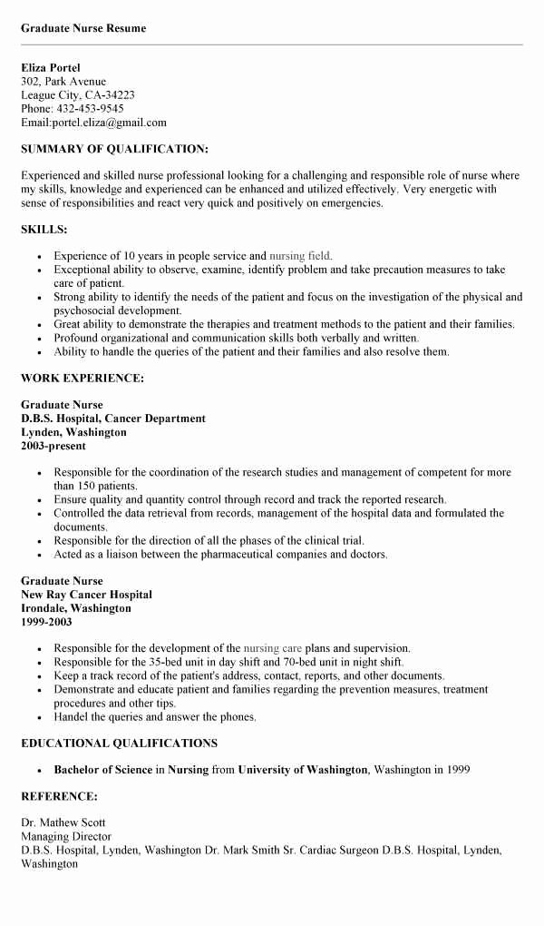 New Grad Rn Resume with No Experience Elegant Sample