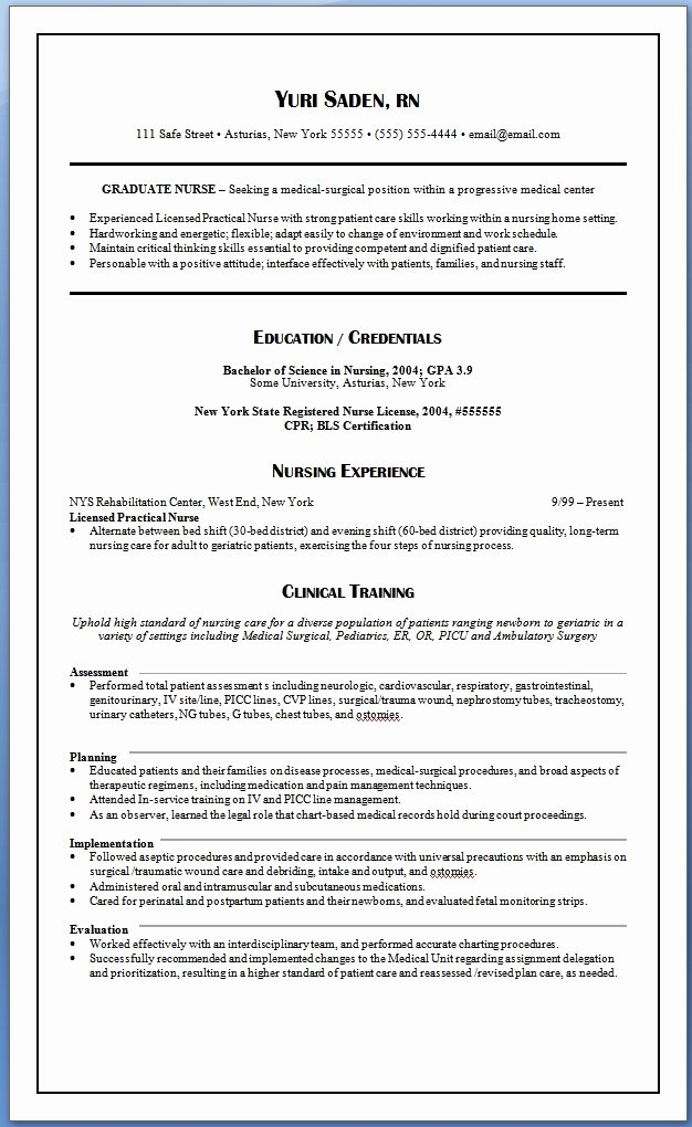 New Graduate Nurse Resume Clinical Experience