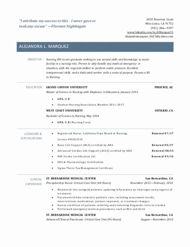 New Graduate Nurse Resume Examples Latter Example Template