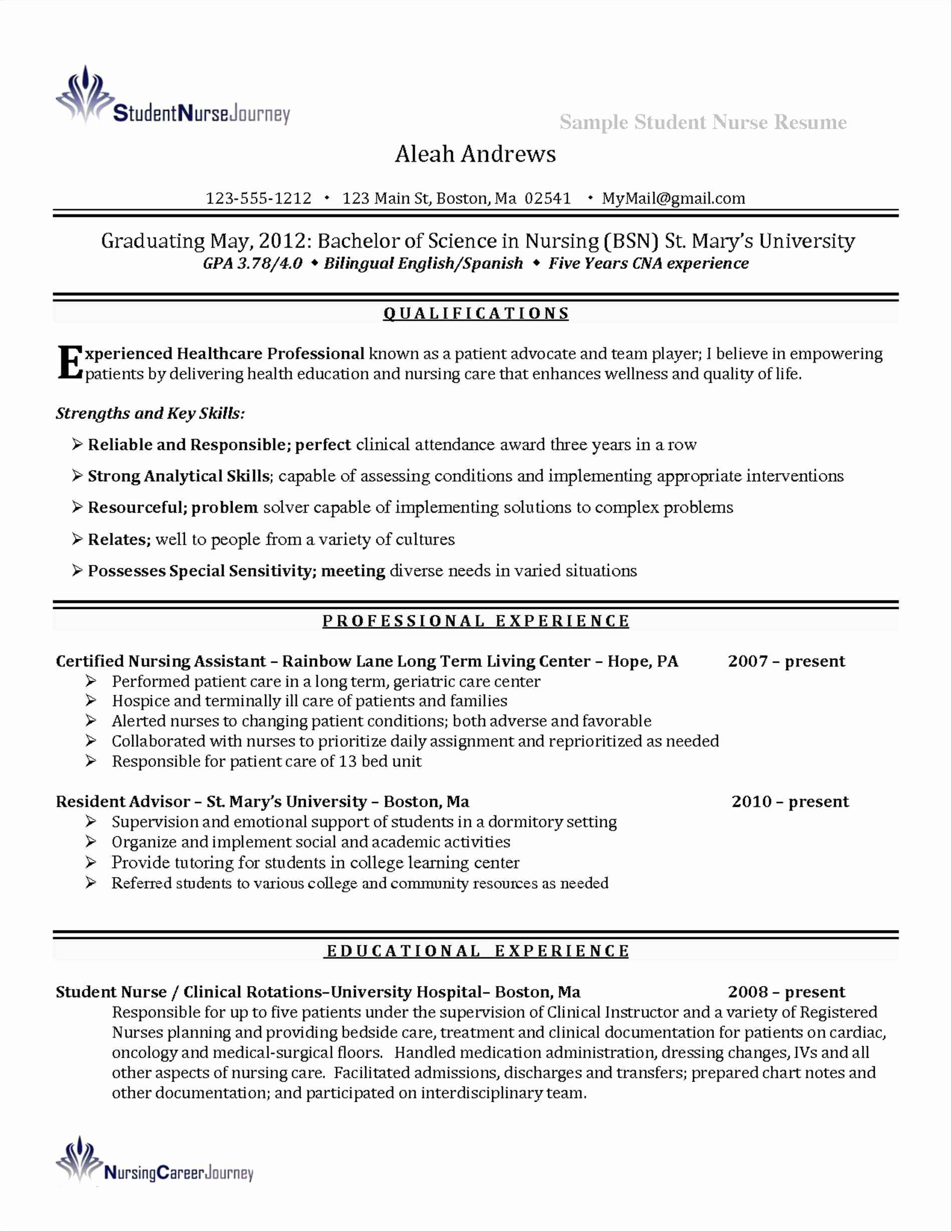 New Graduate Nurse Resume Sidemcicek