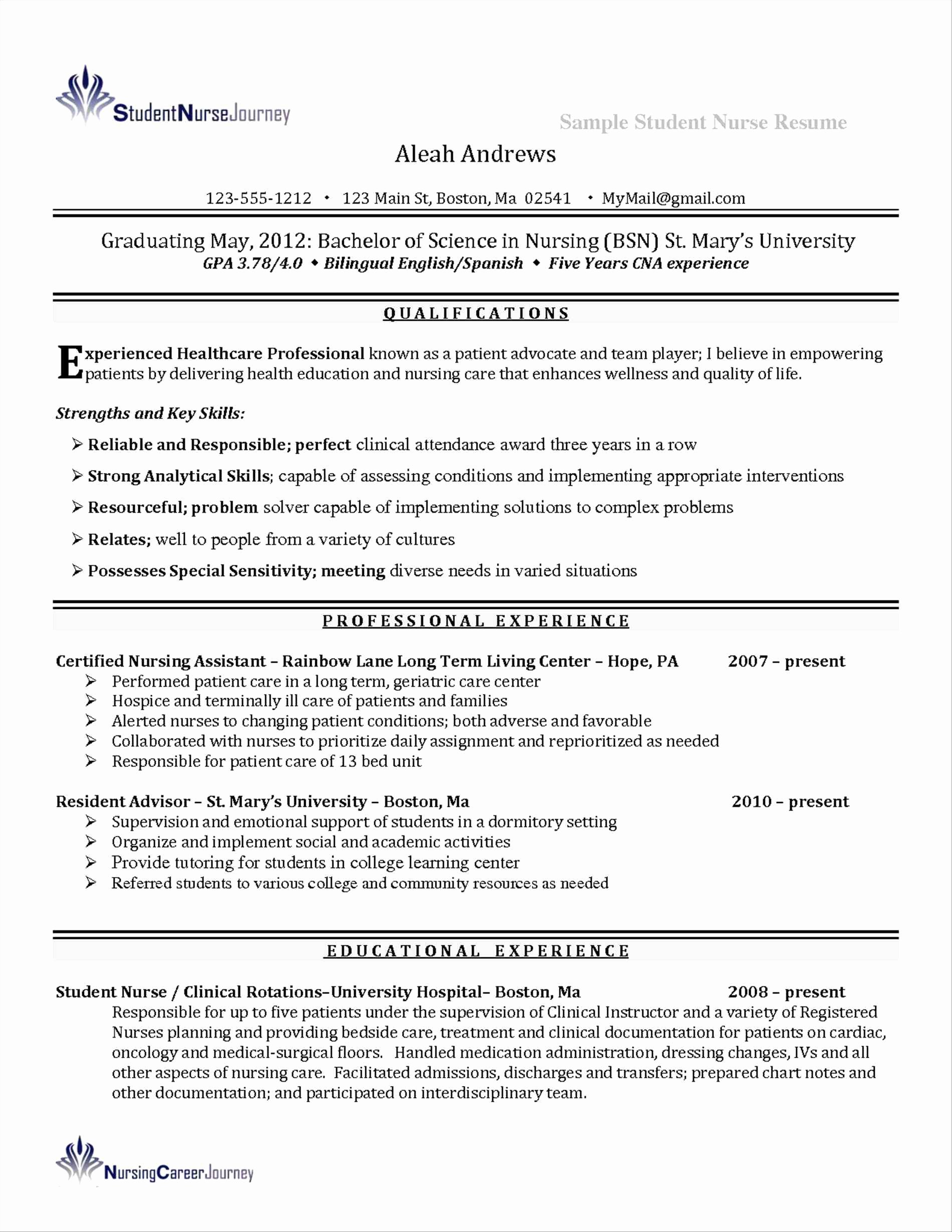 New Graduate Nurse Resume Sidemcicek