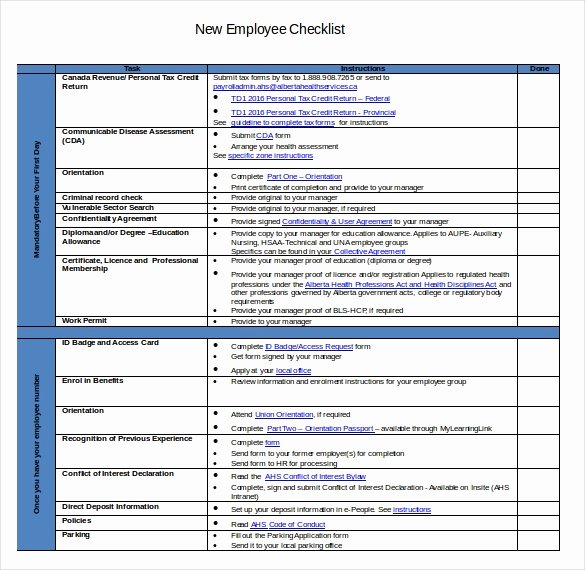 New Hire Checklist Templates – 16 Free Word Excel Pdf